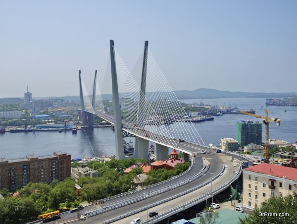 Guyed bridge in the Vladivostok over the Golden Horn bay
