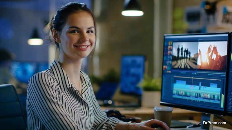 woman creating videos