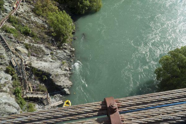 View from Kawarau bridge to river. New Zealand