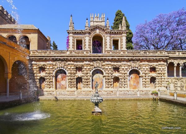 Gardens in Alcazar of Seville, Spain