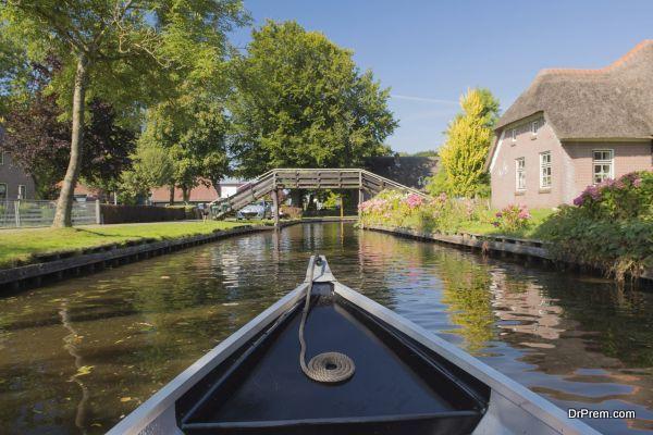 Boat in Dutch village Giethoorn